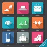 Ajuste com ícones dos acessórios Foto de Stock Royalty Free