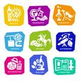 Ajuste com ícones dos assuntos de escola para o projeto Vetor Fotografia de Stock