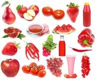 Ajuste com alimento e bebidas vermelhos Foto de Stock Royalty Free