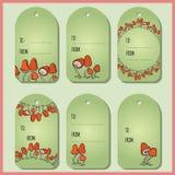 Ajuste com as etiquetas vermelhas bonitos do presente dos cogumelos O vetor etiqueta a cole??o ilustração stock