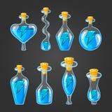 Ajuste com as garrafas da poção da energia Imagens de Stock Royalty Free