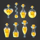 Ajuste com as garrafas diferentes da poção da estrela Fotos de Stock Royalty Free