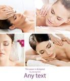 Ajuste com as meninas novas e bonitas que relaxam nos termas Mulher em fazer massagens o salão de beleza Terapia e massagem orien fotos de stock