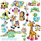 Ajuste com brinquedos dos animais ilustração royalty free
