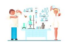 Ajuste com cientista novo ilustração stock