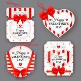 Ajuste com etiquetas do vintage no dia de Valentim Fotos de Stock