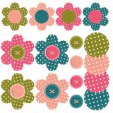 Ajuste com flores e teclas do scrapbook Fotos de Stock Royalty Free