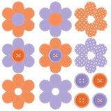 Ajuste com flores e teclas do scrapbook Foto de Stock Royalty Free