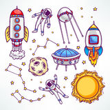 Ajuste com foguetes bonitos ilustração stock