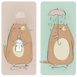 Ajuste com gatos bonitos ilustração royalty free