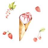 Ajuste com gelado e ingredientes Ilustração da aquarela do desenho da mão Fotos de Stock Royalty Free