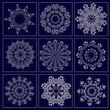 Ajuste com a imagem dos flocos de neve para o feriado Fotos de Stock Royalty Free