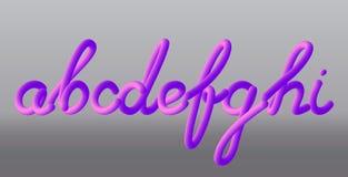Ajuste com letras a, b, c, d, e, f, g, h, i Pintura cor-de-rosa lustrosa le Imagem de Stock Royalty Free