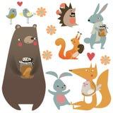 Ajuste com os animais bonitos da floresta Foto de Stock Royalty Free
