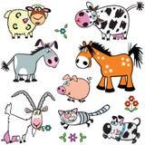 Ajuste com os animais de exploração agrícola dos desenhos animados Foto de Stock Royalty Free