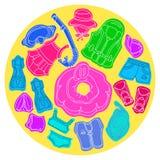 Ajuste com os bens da natação para crianças Ilustração de cor do vetor no círculo Imagem de Stock Royalty Free