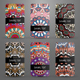 Ajuste com os cartões com teste padrão decorativo Imagem de Stock Royalty Free