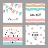 Ajuste com os cartões decorativos bonitos para o aniversário Imagem de Stock