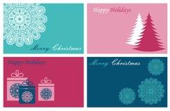 Ajuste com os cartões do Feliz Natal e do ano novo feliz ilustração do vetor