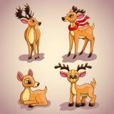 Ajuste com os cervos dos desenhos animados do Natal Foto de Stock Royalty Free