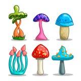 Ajuste com os cogumelos da fantasia dos desenhos animados Fotos de Stock