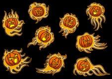 Ajuste com os emblemas de abóboras infernais ilustração stock