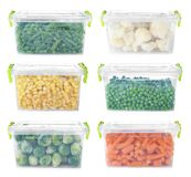 Ajuste com os vegetais congelados em uns recipientes plásticos fotografia de stock