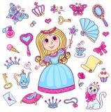 Ajuste com a princesa pequena bonito Fotos de Stock Royalty Free