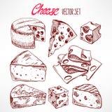Ajuste com queijos do esboço Imagens de Stock Royalty Free