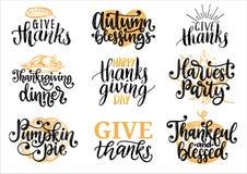 Ajuste com rotulação e ilustrações para o dia da ação de graças Dê agradecimentos, tarte de abóbora, etiquetas tiradas e escritas ilustração royalty free