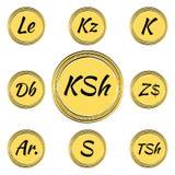 Ajuste com símbolos de moeda africanos Foto de Stock Royalty Free
