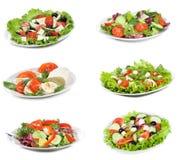 Ajuste com saladas diferentes Fotografia de Stock Royalty Free
