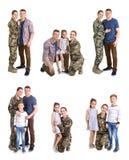 Ajuste com soldado e sua família no fundo branco imagem de stock