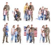 Ajuste com soldado e sua família no fundo branco foto de stock