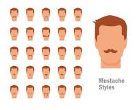 Ajuste com vários tipos de bigodes Imagem de Stock Royalty Free