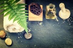 Ajuste con los accesorios del tratamiento de la belleza - aceite esencial, h del balneario Fotos de archivo libres de regalías