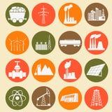 Ajuste 16 ícones do combustível e da energia Fotografia de Stock Royalty Free