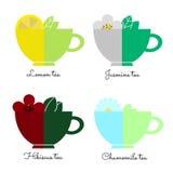 Ajuste copos de chá no branco Fotos de Stock