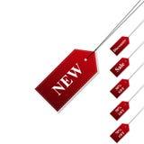 Ajuste a cor vermelha de venda de etiquetas com sombra à moda Fotografia de Stock Royalty Free