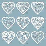 Ajuste corações do estêncil com flor Molde para o design de interiores, os convites, etc. Ilustração do vetor Vetor ajustado da e ilustração do vetor