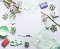 Ajuste cosmético herbario natural del cuidado de piel con las flores de la orquídea, los accesorios y la máscara facial de la hoj fotografía de archivo