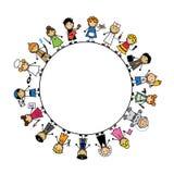 Ajuste crianças dos desenhos animados nos trajes de profissões diferentes Fotografia de Stock