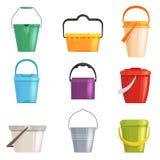 Ajuste a cubeta do ferro ou do plástico, balde do lixo Isolado no fundo branco Ilustração do vetor ilustração do vetor