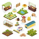 Ajuste da agricultura dos objetos, exploração agrícola Veículos isométricos, construções, plantações ilustração do vetor