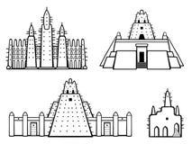Ajuste da arquitetura africana das construções Casa, mesquita, moradia antiga ilustração do vetor