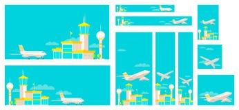 Ajuste da construção terminal e do avião de aeroporto das bandeiras ilustração royalty free