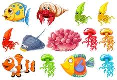 Ajuste da criatura do mar ilustração do vetor