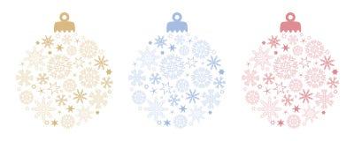 Ajuste da decoração da bola do Natal com flocos de neve e protagonizar em cores diferentes ilustração do vetor