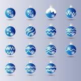 Ajuste da decoração brilhante azul do Natal da bola com efeito lustroso/incandescendo ilustração stock