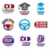 Ajuste da escola de condução dos logotipos do vetor, carro ilustração royalty free